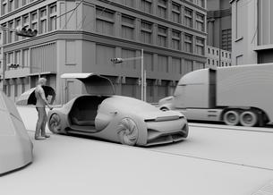 スマートフォンで自動運転車を予約し、乗車する人のクレイレンダリングイメージ。ライドシェアコンセプトの写真素材 [FYI04646069]