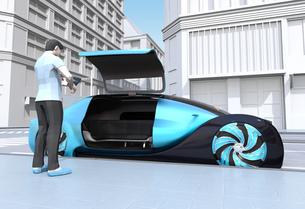 ライドシェア予約で迎えに来た自動運転車のイメージ。ライドシェアコンセプトの写真素材 [FYI04646072]
