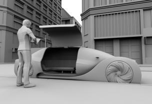ライドシェア予約で迎えに来た自動運転車のクレイイメージ。ライドシェアコンセプトの写真素材 [FYI04646073]