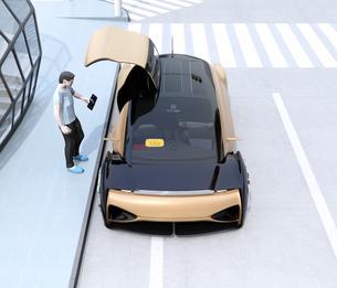 ライドシェア予約で迎えに来た自動運転車の正面イメージ。ライドシェアコンセプトの写真素材 [FYI04646074]
