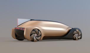 メタリックゴールド色の自動運転電気自動車高級サルーンのイメージ。オリジナルデザインの写真素材 [FYI04646089]