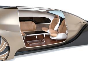自動運転電気自動車高級サルーンのクローズアップイメージ。前列シート後ろ向きで車内会議状態にの写真素材 [FYI04646094]