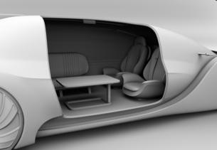 背景用クレイシェーディングの自動運転電気自動車高級サルーンのクローズアップイメージの写真素材 [FYI04646095]