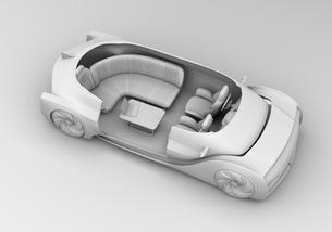 背景用クレイシェーディングの自動運転電気自動車高級サルーンのカットモデルイメージの写真素材 [FYI04646098]