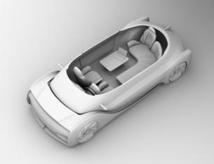 背景用クレイシェーディングの自動運転電気自動車高級サルーンのカットモデルイメージの写真素材 [FYI04646100]
