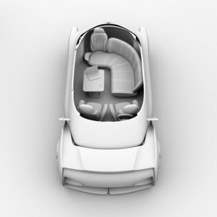背景用クレイシェーディングの自動運転電気自動車高級サルーンのカットモデルイメージの写真素材 [FYI04646105]