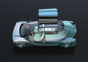 黒バックに自動運転高級サルーンのイメージ。インテリア画像合成効果。オリジナルデザインの写真素材 [FYI04646183]
