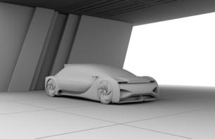 背景用クレイシェーディングの自動運転高級サルーンのイメージの写真素材 [FYI04646187]