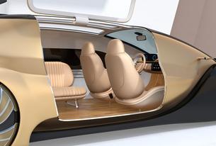 自動運転電気自動車高級サルーンのクローズアップイメージ。前列シート後ろ向きで車内会議状態にの写真素材 [FYI04646206]