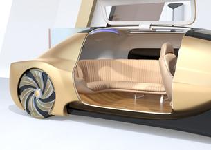 自動運転電気自動車高級サルーンのクローズアップイメージ。前列シート後ろ向きで車内会議状態にの写真素材 [FYI04646209]