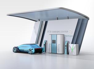ソーラーパネルが備えている水素ステーションに水素ガスを充てんしている自動運転FCVのイメージの写真素材 [FYI04646221]