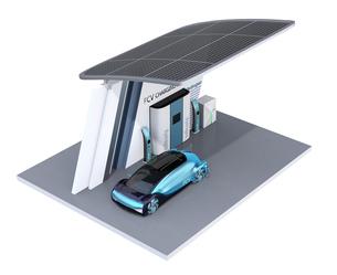 ソーラーパネルが備えている水素ステーションに水素ガスを充てんしている自動運転FCVのイメージの写真素材 [FYI04646225]