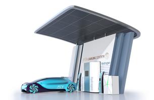 ソーラーパネルが備えている水素ステーションに水素ガスを充てんしている自動運転FCVのイメージの写真素材 [FYI04646227]