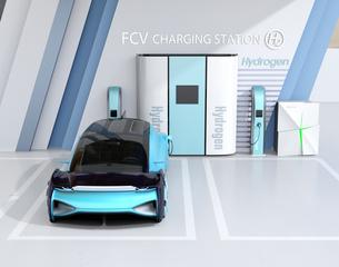 水素ステーションに水素ガスを充てんしている自動運転FCVのイメージの写真素材 [FYI04646228]