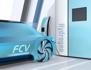 水素ステーションに水素ガスを充てんしている自動運転FCVのイメージの写真素材 [FYI04646229]