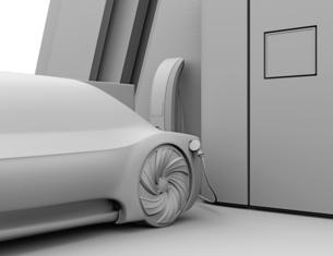 水素ステーションに水素ガスを充てんしている自動運転FCVのクレイレンダリングイメージの写真素材 [FYI04646231]