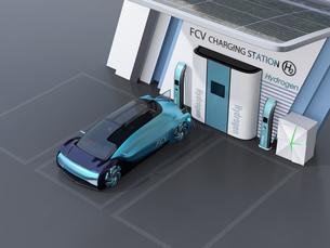 ソーラーパネルが備えている水素ステーションに水素ガスを充てんしている自動運転FCVのイメージの写真素材 [FYI04646232]