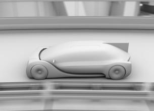 高速で走行する自動運転高級サルーンのクレイシェーディングイメージの写真素材 [FYI04646240]