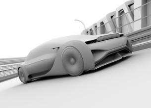 高速で走行する自動運転高級サルーンのクレイシェーディングイメージの写真素材 [FYI04646244]