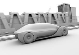 高速で走行する自動運転高級サルーンのクレイシェーディングイメージの写真素材 [FYI04646246]