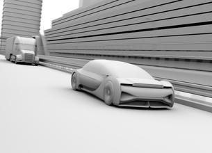 高速道路走行している自動運転高級サルーンのクレイレンダリングイメージの写真素材 [FYI04646248]