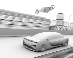 高速道路走行中の自動運転車と空飛ぶタクシーのクレイレンダリングイメージの写真素材 [FYI04646251]