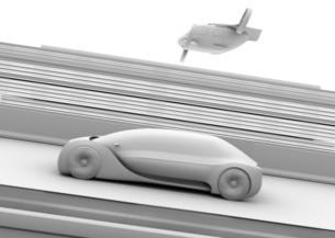 高速道路走行中の自動運転車と空飛ぶタクシーのクレイレンダリングイメージの写真素材 [FYI04646253]