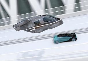高速道路走行中の自動運転車と空飛ぶタクシーのコンセプトイメージの写真素材 [FYI04646256]