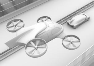 高速道路走行中の自動運転車と空飛ぶタクシーのクレイレンダリングイメージの写真素材 [FYI04646259]
