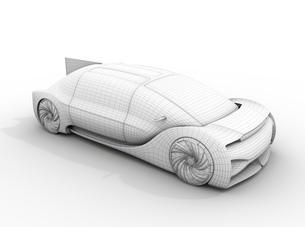 電気自動車のクレイレンダリングワイヤーフレームイメージの写真素材 [FYI04646265]