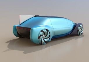 メタリックブルーの自動運転電気自動車高級サルーンの後部イメージ。オリジナルデザインの写真素材 [FYI04646267]