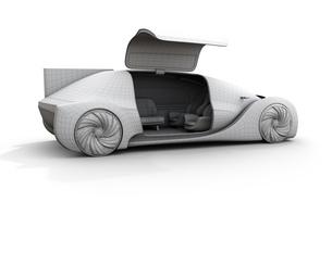 電気自動車のクレイレンダリングワイヤーフレームイメージ。右ドアが開いた状態。前列シート後部向きにの写真素材 [FYI04646271]