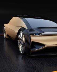 黒バックに自動運転電気自動車高級サルーンのクローズアップイメージ。オリジナルデザインの写真素材 [FYI04646276]