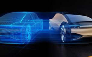 電気自動車と反転メッシュスタイル処理のイメージ。デジタルツインコンセプトの写真素材 [FYI04646277]