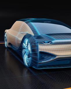 電気自動車のデジタルメッシュスタイル処理したイメージ。デジタルツインコンセプトの写真素材 [FYI04646278]