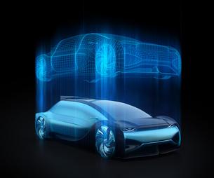 電気自動車のデジタルメッシュスタイル処理したイメージ。デジタルツインコンセプトの写真素材 [FYI04646280]