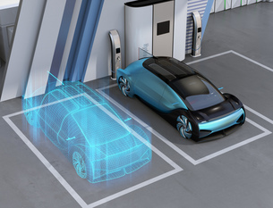 電気自動車のデジタルメッシュスタイル処理したイメージ。デジタルツインコンセプトの写真素材 [FYI04646283]