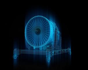 X線スタイルジェットエンジンのワイヤーフレームイメージ。デジタルツインコンセプトの写真素材 [FYI04646297]