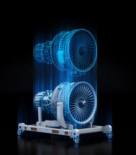 航空機ジェットエンジンとデジタルメッシュデータ。デジタルツインのコンセプトの写真素材 [FYI04646299]