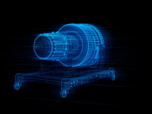 X線スタイルジェットエンジンのワイヤーフレームイメージ。デジタルツインコンセプトの写真素材 [FYI04646300]
