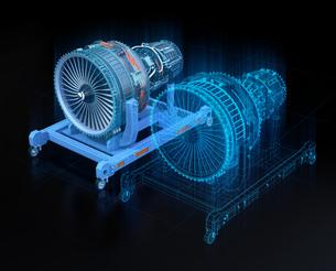 航空機ジェットエンジンとデジタルメッシュデータ。デジタルツインのコンセプトの写真素材 [FYI04646301]