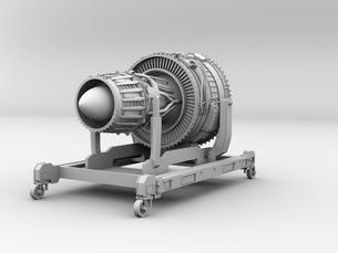 航空機ジェットエンジンのクレイレンダリングイメージの写真素材 [FYI04646302]
