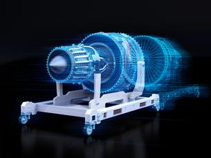 航空機ジェットエンジンとデジタルメッシュデータ。デジタルツインのコンセプトの写真素材 [FYI04646303]