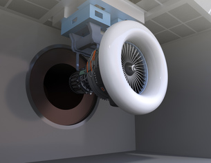 ジェットエンジン運転試験場のイメージの写真素材 [FYI04646304]