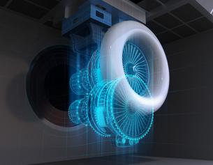 ジェットエンジン運転試験のワイヤーフレームイメージ。デジタルツインコンセプトの写真素材 [FYI04646305]