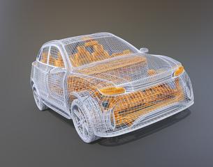 グレーバックに銀色と黄色のワイヤーで構成されたSUVのイメージの写真素材 [FYI04646313]