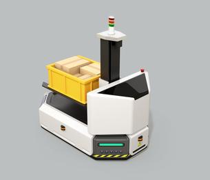 グレイ背景にあるフォークリフト付きの無人搬送車AGV。スマート工場のコンセプトの写真素材 [FYI04646321]