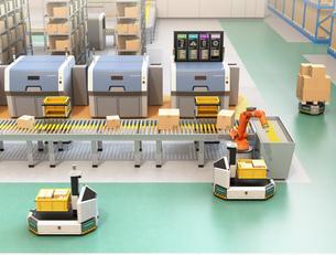 ラインから流れてきた荷物がロボットアームで無人搬送車AGVに運んでいる。スマート工場コンセプトの写真素材 [FYI04646334]