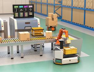 ラインから流れてきた荷物がロボットアームで無人搬送車AGVに運んでいる。スマート工場のコンセプトの写真素材 [FYI04646336]