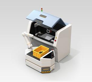 無人搬送車AGVがロボットアームで3Dプリンタから成型済の部品を取り出すイメージの写真素材 [FYI04646346]